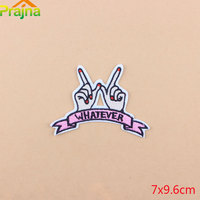 Prajna 50pcs Set Finger Patch WHATEVER Letter Embroidery Cute Logo Patches For Clothing Girl Kids Iron