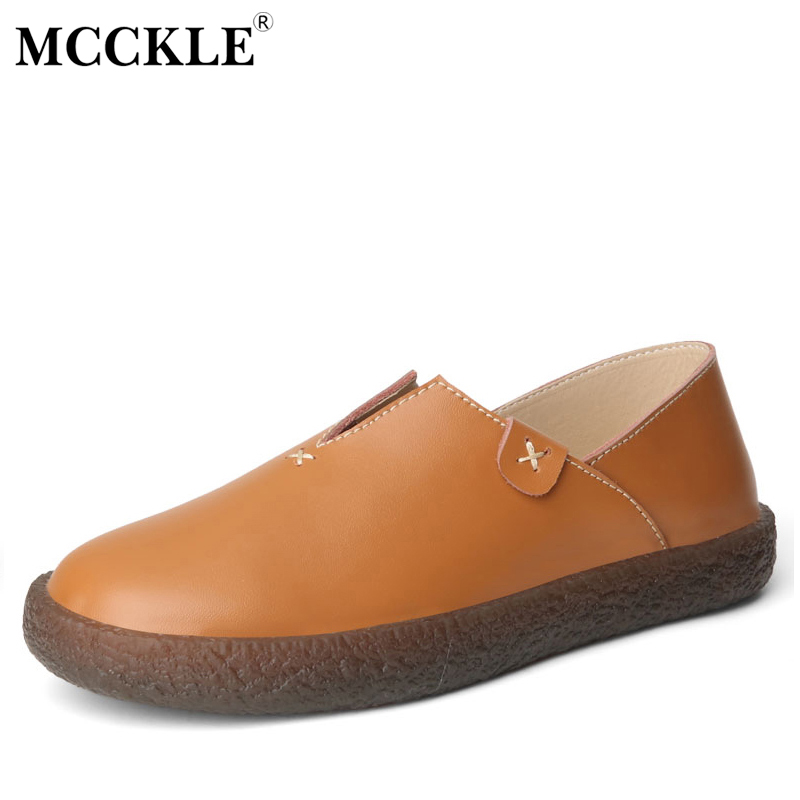 MCCKLE Ladies Slip On Oxford Flat Loafer Shoes 2017 Women's Fashion Platform Spring Autumn Casual Leather Comfortable Moccasins стоимость