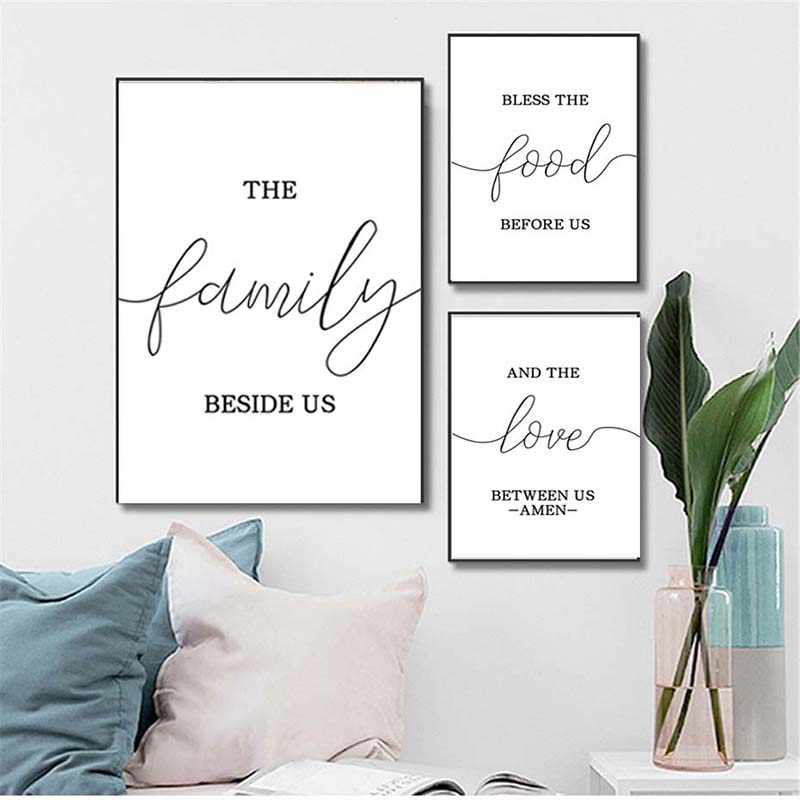 Nordic Canvas Painting Inspirational Bless Quotes Poster Print The Family Besides Motivational Pictures Living Room Home Decor