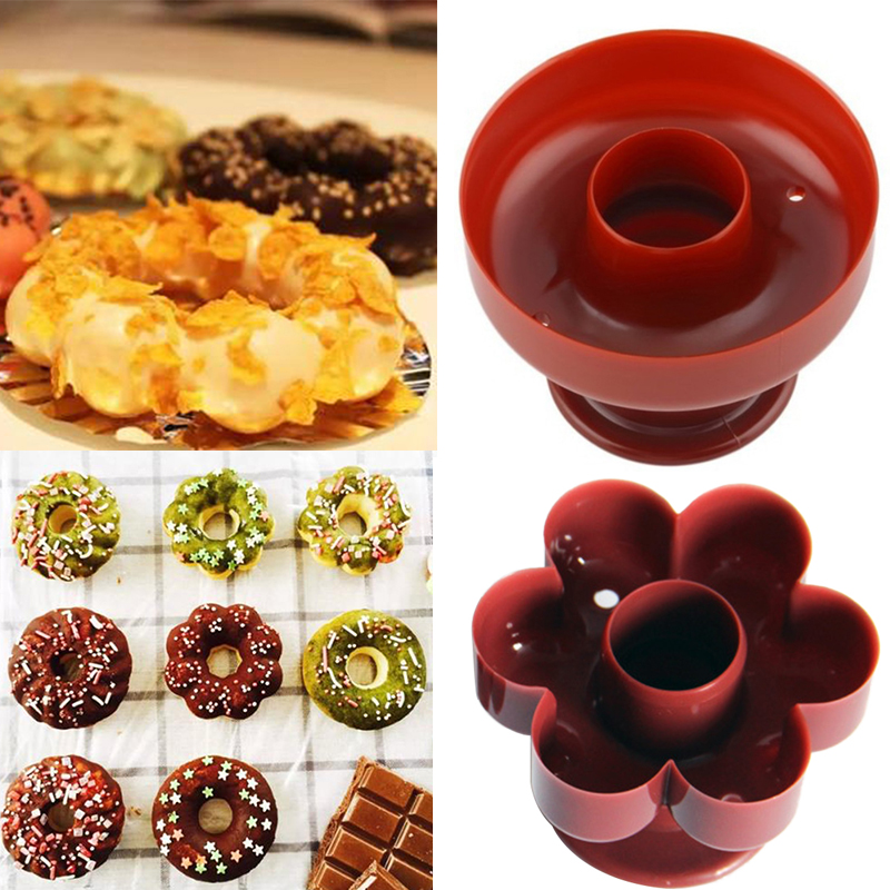 1Pc Plastic Waffle Donut Maker Cutter Flower Shape Dispenser Donut Mould Portable Arabic Waffle Mold Kitchen Dessert Tool