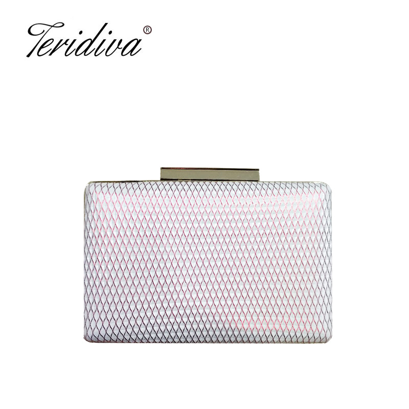 Teridiva Fashion Chain Shoulder Ladies Bag Metal Knitted Women Evening Bag Party Wedding Female Clutch Handbags Mini Purse transparent striped color fashion party chain purse female clutch bag handbag shoulder bag ladies crossbody mini messenger bag