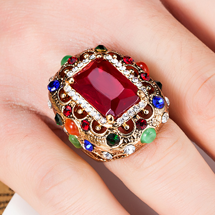 Very Nicely Turkish Vintage Rings Women Best Party Jewelry colar Femininos Aneis Anel Antique Gold Ring