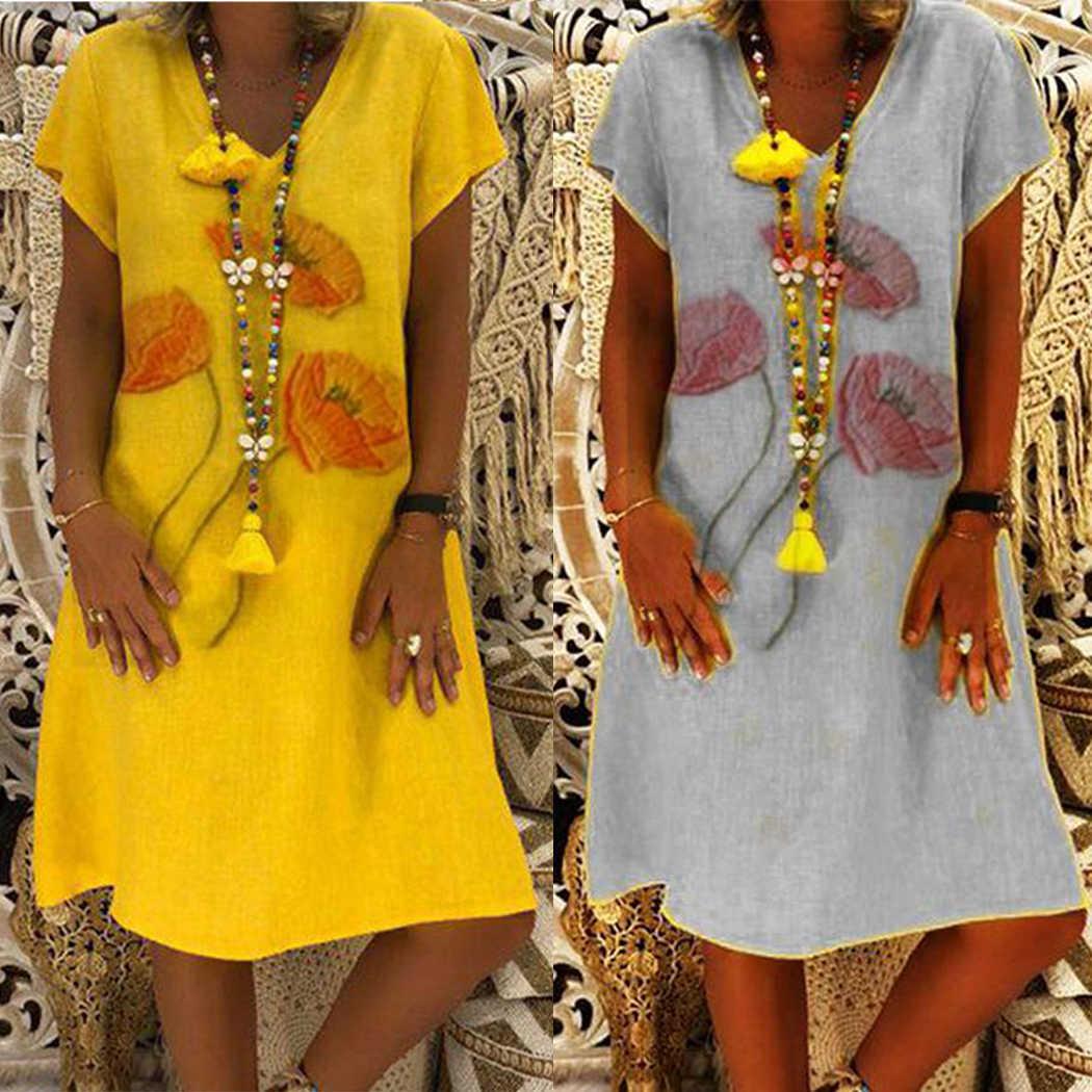 Плюс размер летнее платье с v-образным вырезом и коротким рукавом повседневное пляжное льняное платье для женщин 2019 модные цветочные свободные платья женские сарафаны