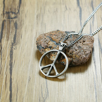 Classic Peace Sign Symbol Pendant Necklace For Mens Women Retro Silver Tone Stainless Steel Male Female