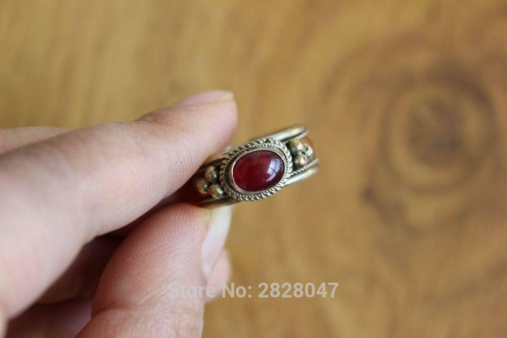 337d1e3fa6f89 RG309 Ethnic Tibetan Copper Inlaid Colorful Onyx Stone Women Rings Handmade  Nepal 8mm Wide Girls Fashion Adjustable Ring