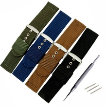 Black / Green Canvas Watchbands, High Quality 22MM 20MM Retro Summer Anti-Sweat Men Strap