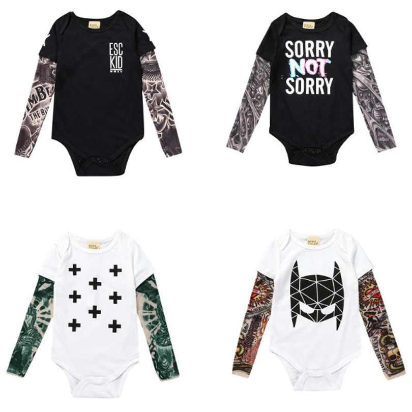 Новейшая модель; Демисезонный для новорожденных, младенцев, для маленьких девочек и мальчиков, боди-комбинезон из двух предметов костюм-комбинезон с длинным рукавом тату буква С сетчатыми рукавами 9 months to 3 years Old