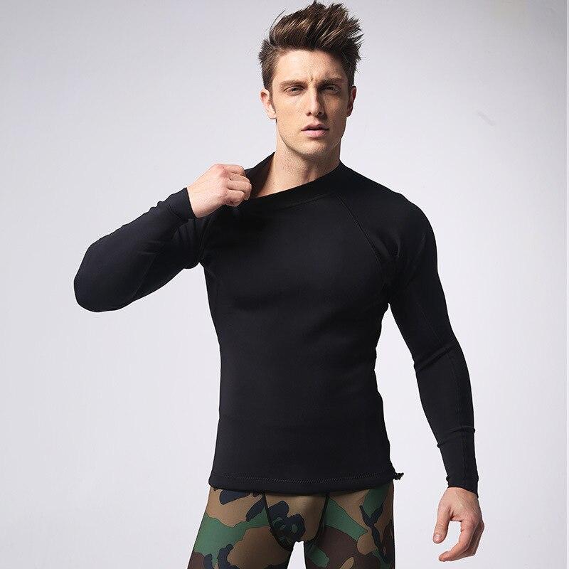 Men s Gym 1 5MM Neoprene T shirt Long sleeve high elastic Vest Body Shaper Slimming