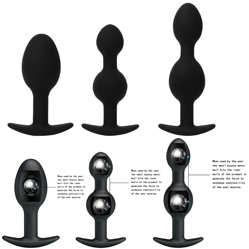 New-type Removable Anal Beads Stimulation Sensual Adult Sex Toys Black Silicone Anal Plug For Couple Anus Muscles Trainer New