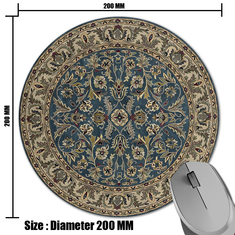 Persian Carpet Circular Pattern Prints Mouse Pad Small Size Round Gaming  Non Skid Rubber Pad