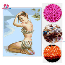 diy cross stitch beads embroidery sexy beauty girl beadwork home decor crafts needlework accessories pearl full beads embroidery(China)