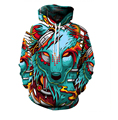 Hot 2016 Autumn Fashion Women Men Hoodies Cartoon Wolf demon 3D Digital Printing Sweatshirt Loose casual Hooded sweatshirt