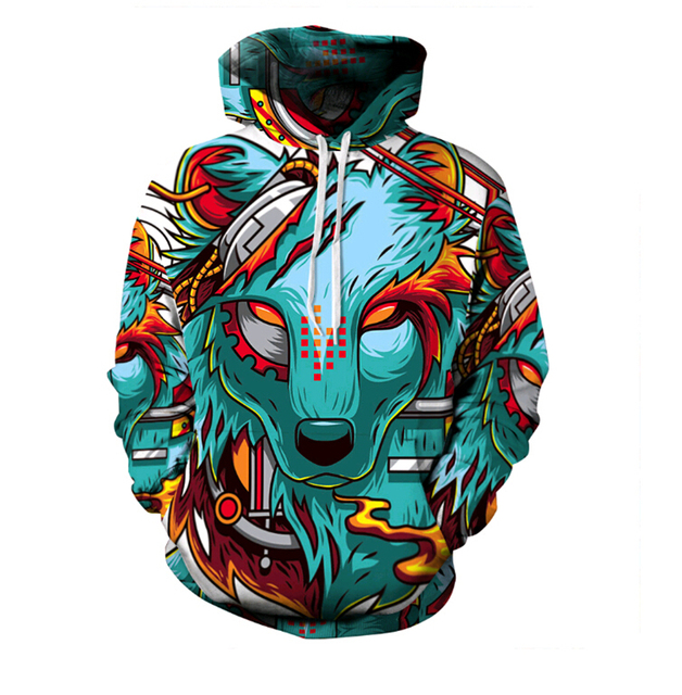 Hot 2016 Autumn Fashion Women Men Hoodies Cartoon Wolf demon 3D Digital Printing Sweatshirt Loose casual Hooded sweatshirt