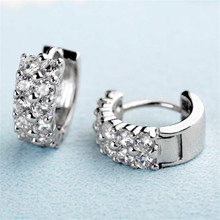 BFQ Women's S925 Sterling Silver Micro Inlaid AAA Zircon Stud Earrings  High-Grade Diamond Engagement Earrings