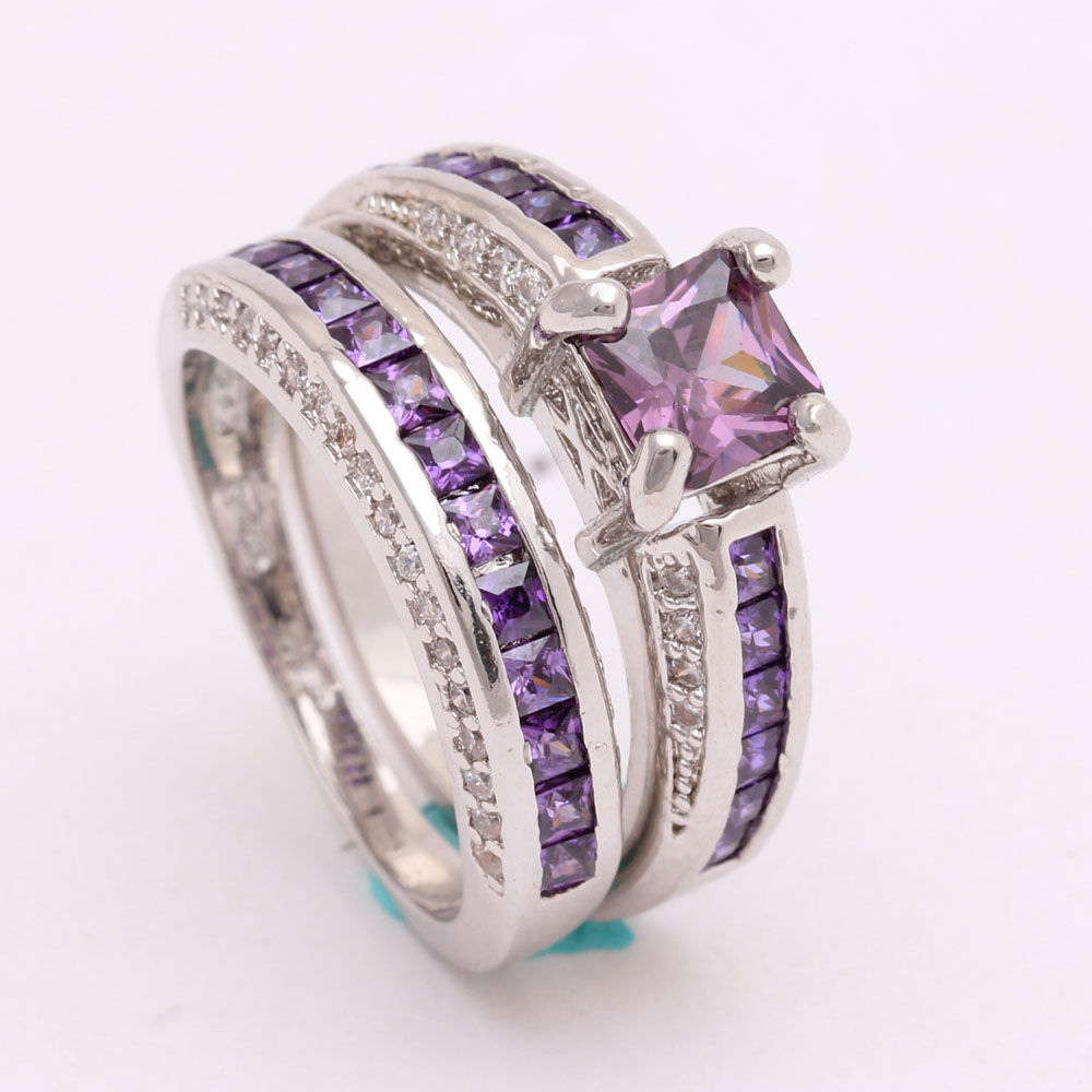 Top 2pc Women Silver Plated Wedding Rings Sets Wholesale
