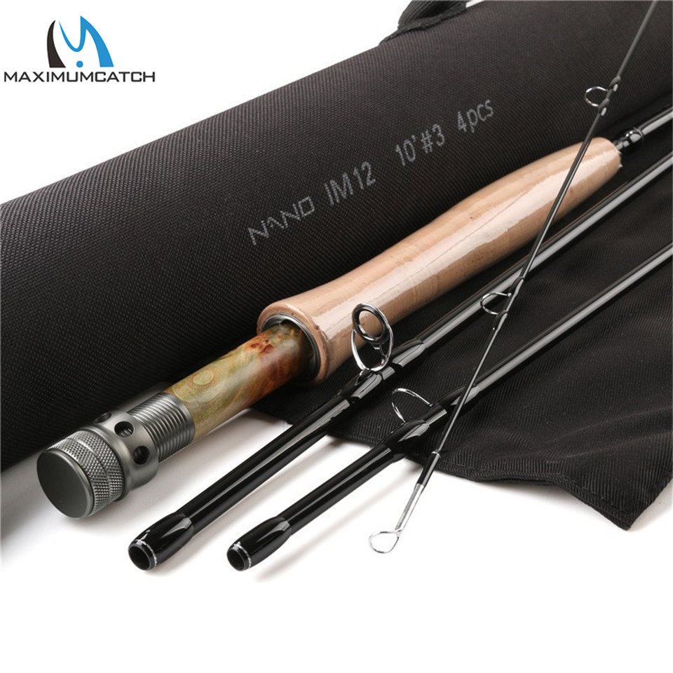 Maximumcatch NANO Nymph 10FT 3/4wt Fly Fishing Rod IM12 Graphite Carbon Fiber Fast Action Fly Rod with Cordura Tube maximumcatch top grade 4wt 5wt 6wt 7wt 8wt fly rod 9ft carbon fiber fast action black star fly fishing rod with cordura tube
