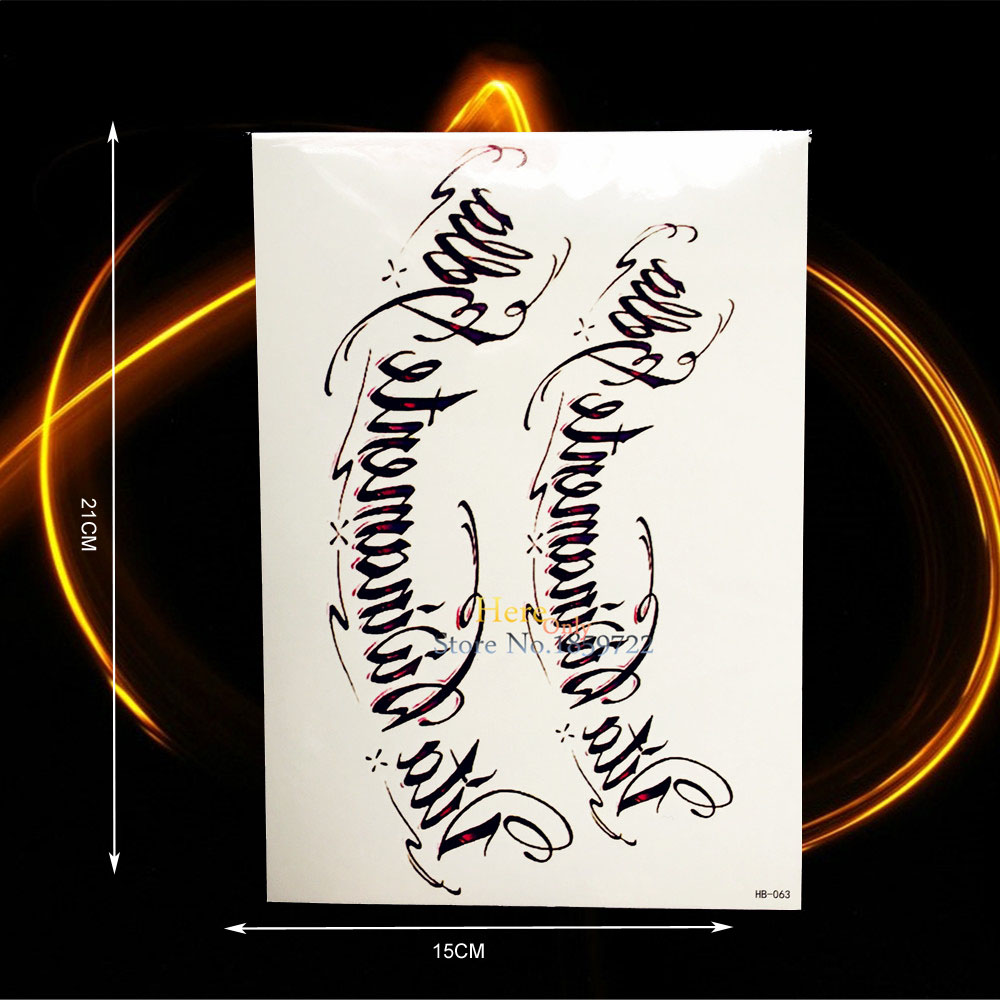 Black Words Henna TEmporary Tattoo Body Art Arm Sleeves HHB 063 Men WOmen Sexy Tattoo Fake