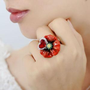 Image 5 - SANTUZZA Silver Flower Rings For Women 925 Sterling Silver Creative Red Rose Flower Ring Fashion Jewelry Handmade Enamel