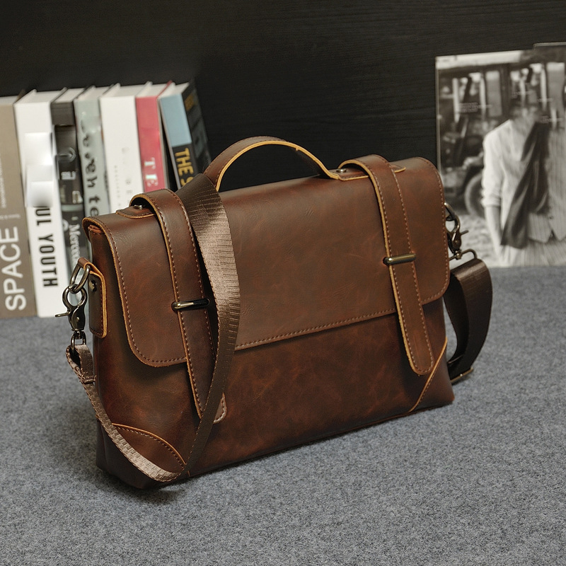 8eec323d81af Brand Crazy horse PU leather men bags vintage business leather briefcase  mens Briefcase men travel bags ...