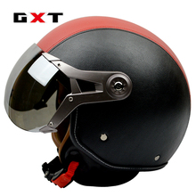 GXT casque moto G 288 motocross helmet genuine leather vintage retro Harley motorcycle capacete cascos open