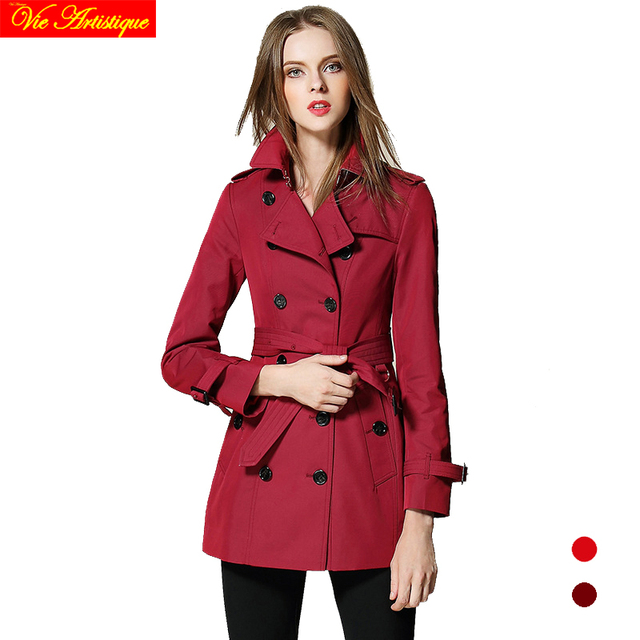 578522b49b10 trench coat for women 2017 duster coats manteau femme grande taille spring  winter cotton burgundy red long windbreak fit sexy