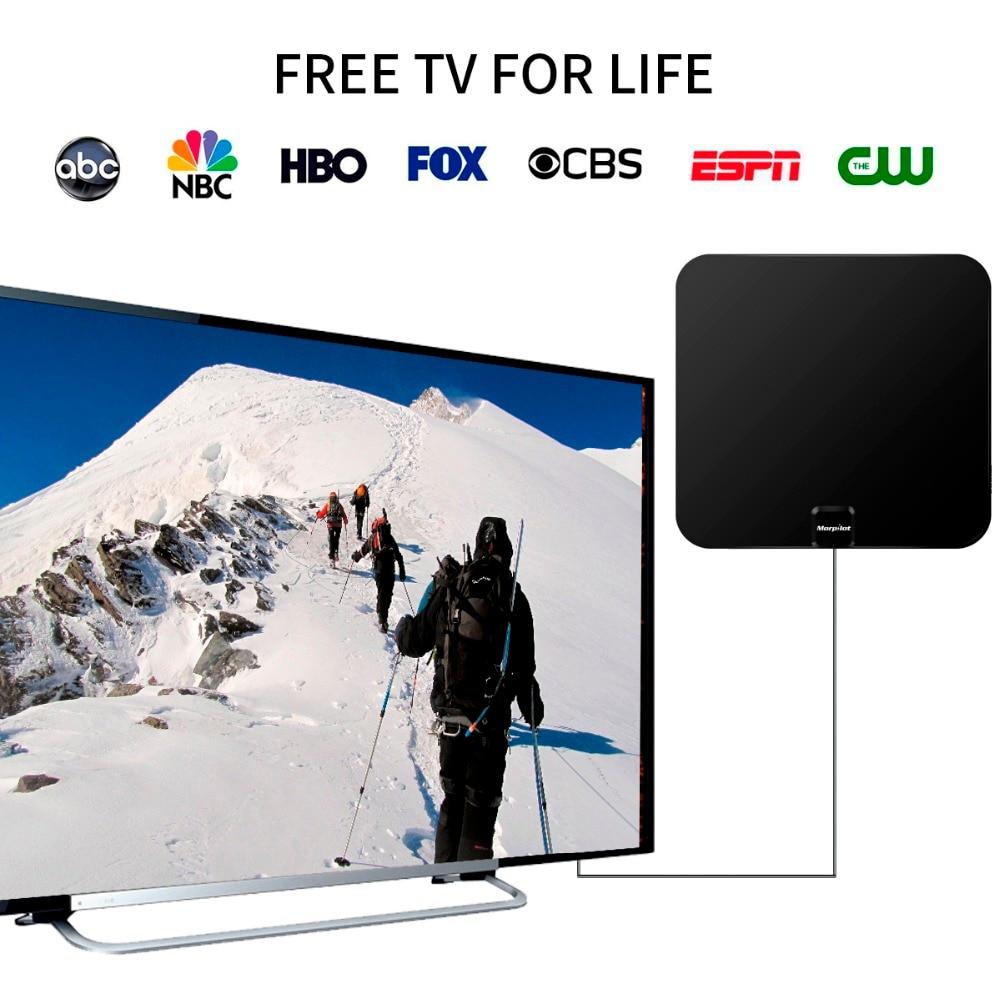 US $22 84 |Morpilot Indoor Digital TV Antenna High Gain Flat Design HDTV  Antenna 60 Miles Range with Detachable Amplifier Signal Booster-in TV  Antenna