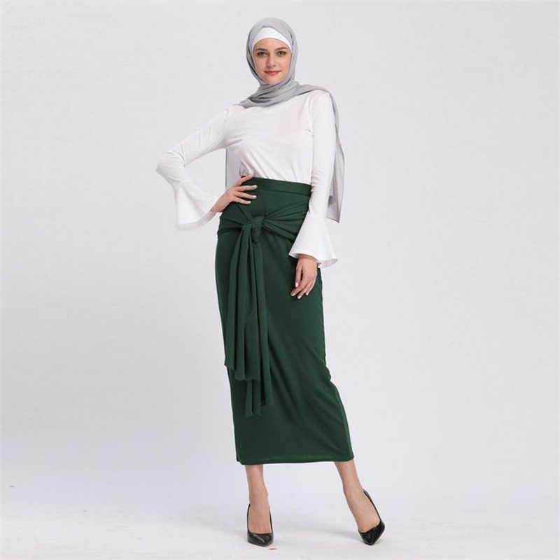 0d16c259a8 2019 Fashion Long bandage Muslim skirt solid turkey dubai malay maxi skirt  modernized islamic clothing female