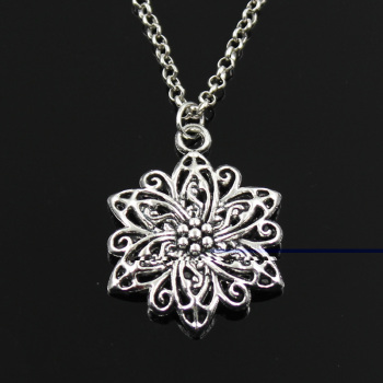 New Fashion Flower Pendants Round Cross Chain Short Long Mens Womens Silver Color Necklace Jewelry Gift 1