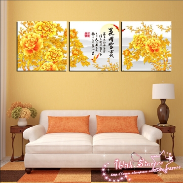 Aliexpress Buy 3 Pieces Canvas Print Wall Art Painting For Living Room Picture Purple Tree Peony Grape Calla Lily Apple From Reliable