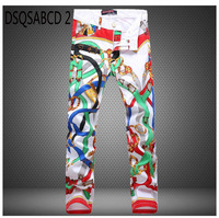 2018 fashion brand Hip hop men's casual Straight trousers Paint pop slim sexy slim Printed Nightclubs flower men white red Pants