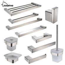 Brushed Silver Sus 304 Stainless Steel Bathroom Accessories Set Toilet Brush Holder Towel Bar Towel Holder Bathroom Hardware Set цена 2017