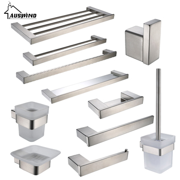 цена на Brushed Silver Sus 304 Stainless Steel Bathroom Accessories Set Toilet Brush Holder Towel Bar Towel Holder Bathroom Hardware Set