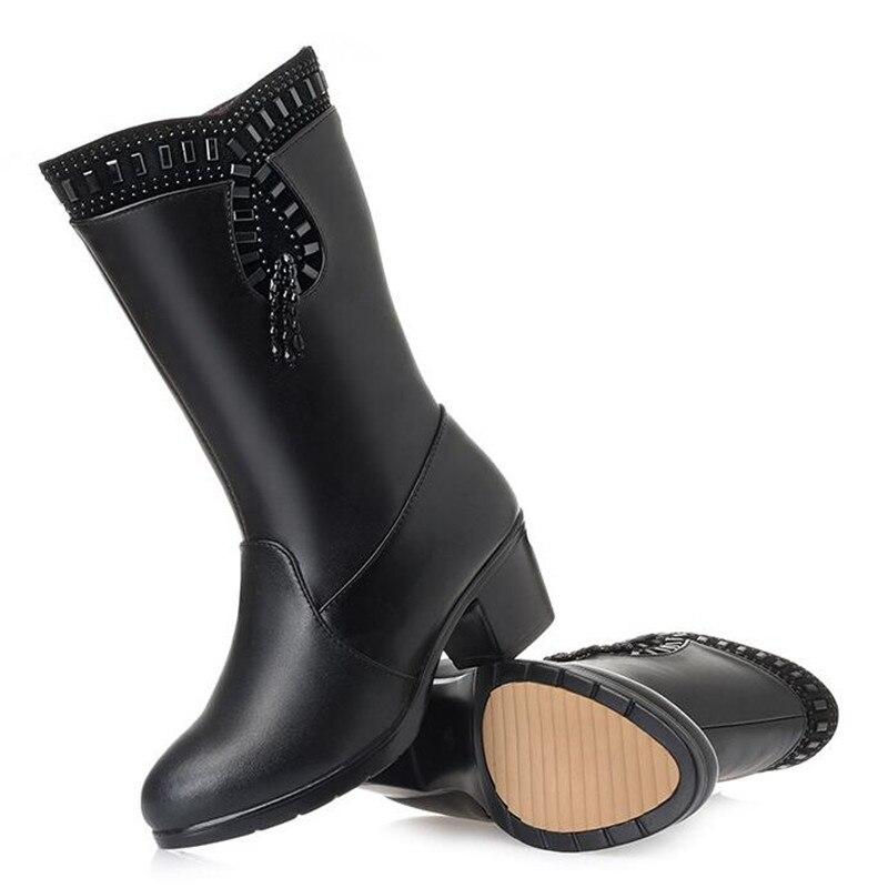 Nuevo Resistente Caliente Wool 2018 Al Tubo Black Mujer Cuero En Frío Mantener black Lana Marca Nieve Vaca Zxryxgs Invierno Inside Mujeres Zapatos De Botas Plush 7pBOO0