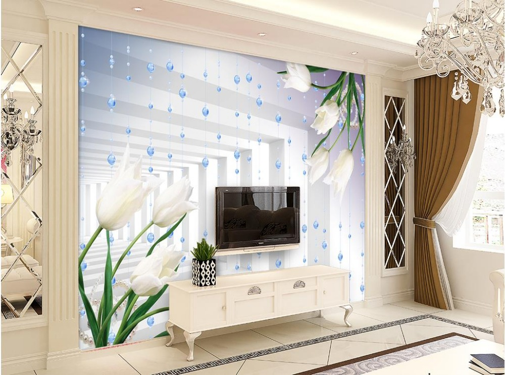 Window mural wallpaper lily tulip dimensional space photo for Wallpaper home renovation