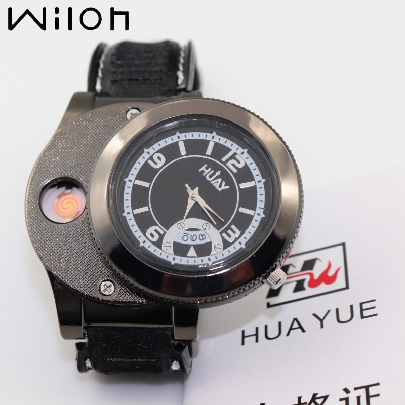 2018 hot sale lighter watch for men fashion Gifts Quartz Watches Casual Flameless Cigarette Lighter with USB Rechargeable F668