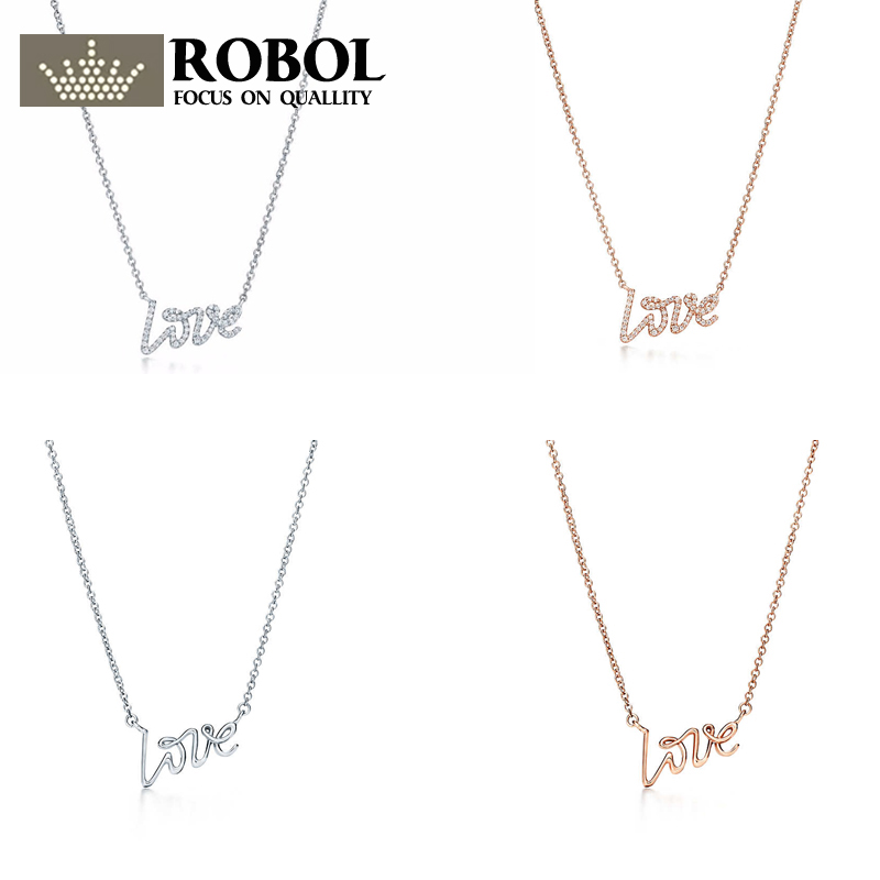 ROBOL Fashion 925 Sterling Silver LOVE Pendant Necklace 42CM Pendants & Necklaces Women Sterl Silver-Jewelry Free Package Mail