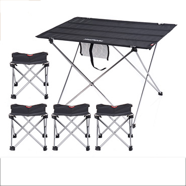 POINT BREAK NH15Z012-S10 Outdoor Folding Table Fishing Leisure Camping Combination, Black Large Table And Four Folding ChairPOINT BREAK NH15Z012-S10 Outdoor Folding Table Fishing Leisure Camping Combination, Black Large Table And Four Folding Chair