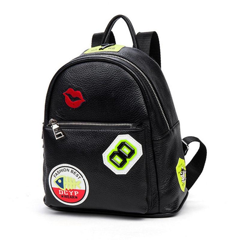 ФОТО New Genuine Cow Leather Women Backpacks Japan Korea Style Travel Bags For Ladies Youth Fashion Mini Daily Women Backpacks