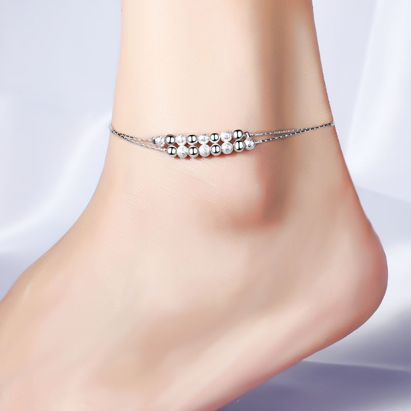 1PC Hot Summer Beach Ankle Infinite Silver Color Two layer Ball Foot font b Jewelry b