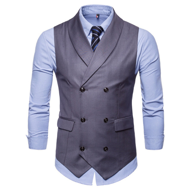 FFXZSJNew Style Double-Breasted Vintage Suit Vests for Men Slim Men Gilet Wedding Waistcoats Colete Homem Sleeveless Dress Vests