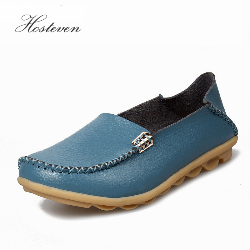 New Women's Shoes Leather Moccasins Mother Loafers Soft Leisure Flats Female Ladies Driving Ballet Casual Footwear Shoes