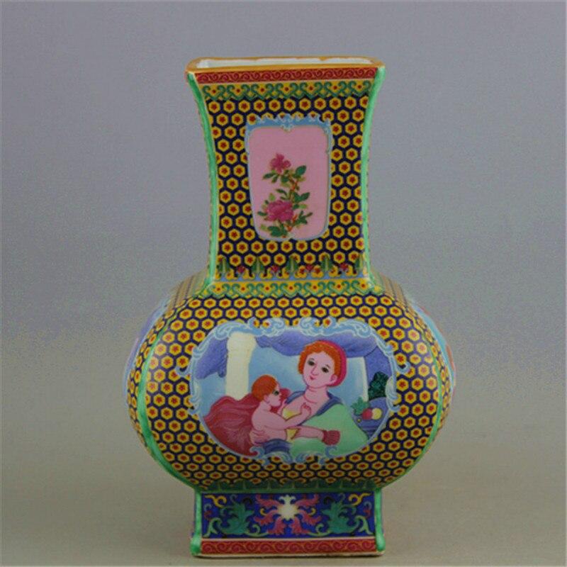 Qing Dynasty yong zheng Antique Jingdezhen Enamel Collection Characters Pattern Porcelain Vase Qing Dynasty yong zheng Antique Jingdezhen Enamel Collection Characters Pattern Porcelain Vase