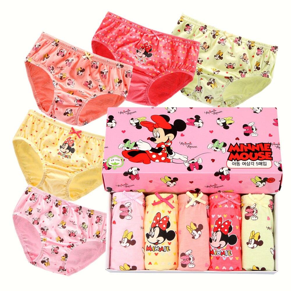 5 Pcs/Set Disney Minnie Girls Panties Children Underwear Cotton With Box Cotton Short Briefs Kids Clothing Cartoon Pattern