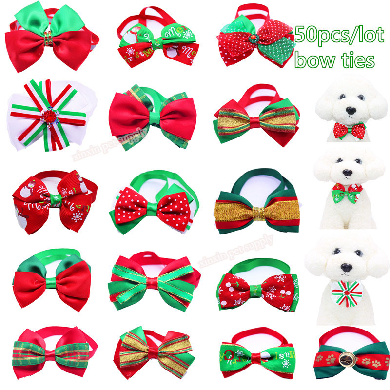 50 unids/lote pet cat dog pajaritas para navidad pet corbatas ties accesorios co