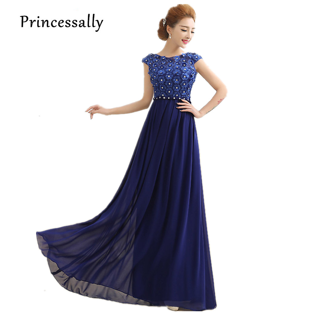 Compare prices on blue dresses bridesmaid online shoppingbuy low navy blue bridesmaid dress cap seeve appliques flower long elegant chiffon vestidos de festa vestido longo ombrellifo Choice Image