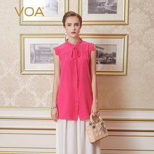 VOA summer new 2017 red silk shirt female sleeveless loose quality shirt blouse B6618