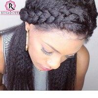 Pré Plumées 360 Dentelle Frontale Fermeture Avec Des Cheveux de Bébé Brésilienne Vierge Cheveux Crépus Droite 100% Cheveux Humains Rosa Reine