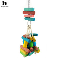 Purple Star Large Parrot Pet Colorful Wood Chewing Blocks Parrot Cage Pendant Decor Macaw Cockatiels Play