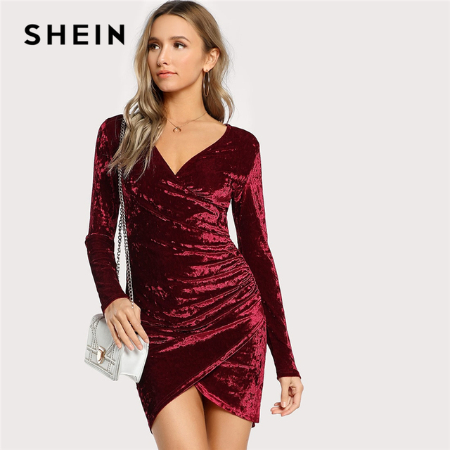aaefdea64336 SHEIN Burgundy Party Sexy Solid Ruched Overlap Surplice Crushed Velvet Long  Sleeve Pencil Dress Autumn Club Women Dresses – mythgardent.com