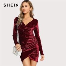 SHEIN ブルゴーニュパーティーセクシーな固体シャーリング冥衣オーバーラップ砕石ベルベット長袖秋の女性のドレス